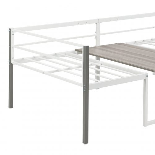 Twin Size Adjustable Metal Daybed with Built-in-Desk can be Raised and Lowered