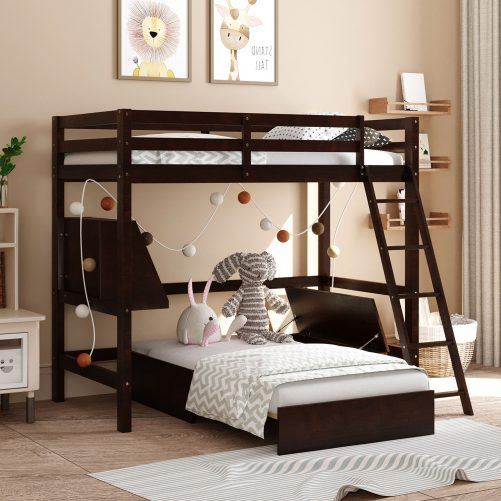 Twin Size Wood Loft Bed With Convertible Lower Bed, Storage Drawer And Shelf