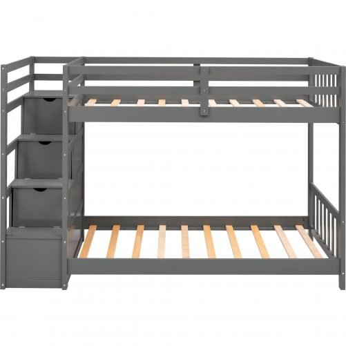 Twin Over Twin Double Parallel Bunk Beds with Storage Staircase in the Middle and Full-Length Guardrails