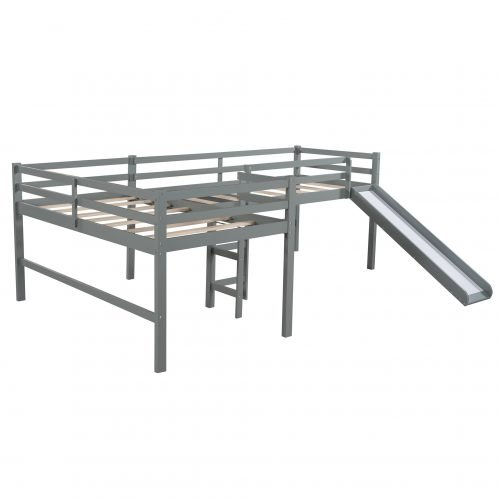 Twin Size L-Shaped Loft Bed With Built-In Ladders And Slide