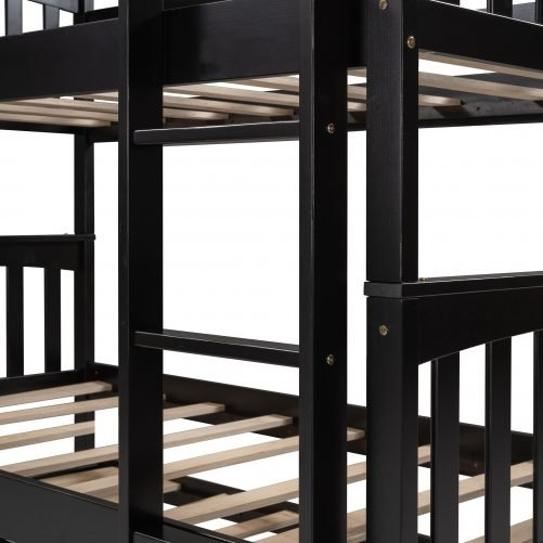 Twin Over Twin Bunk Bed With Trundle And Ladder For Kids