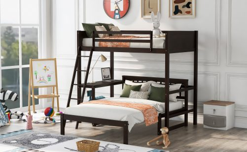 Twin Size  Wood Loft Bed With Convertible Lower Bed And Desk