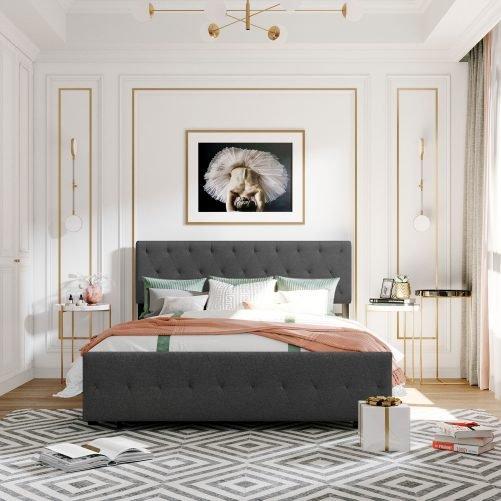 Queen Size Storage Metal Platform Bed With A Big Drawer