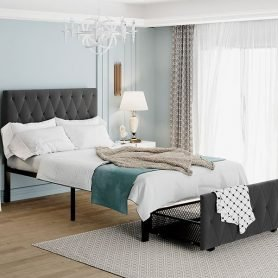 Twin Size Storage Metal Platform Bed With A Big Drawer