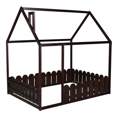 Full Size Wood House Bed Frame With Fence