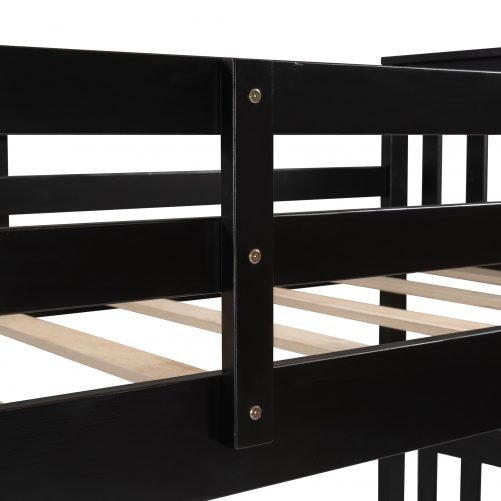 Twin Over Twin Bunk Bed With Drawers And Ladder For Kids