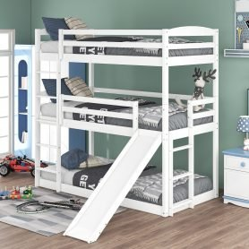Twin Over Twin Over Twin Adjustable Triple Bunk Bed With Ladder And Slide
