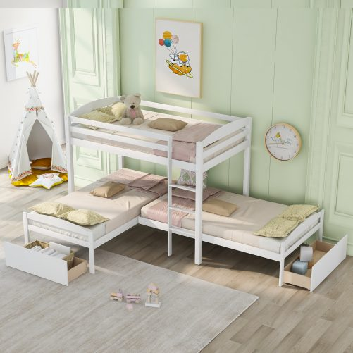 Twin Over Twin Over Twin L-Shaped Bunk Bed With Two Drawers