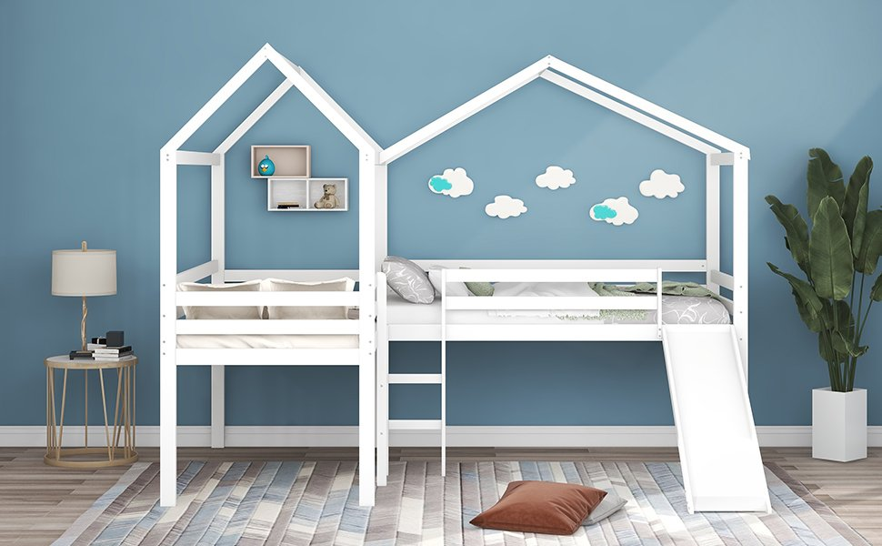 Twin Size Wood Loft Bed With Roof, Slide, Guardrail