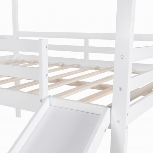 Full Size Wood Loft Bed With Roof, Slide, Guardrail