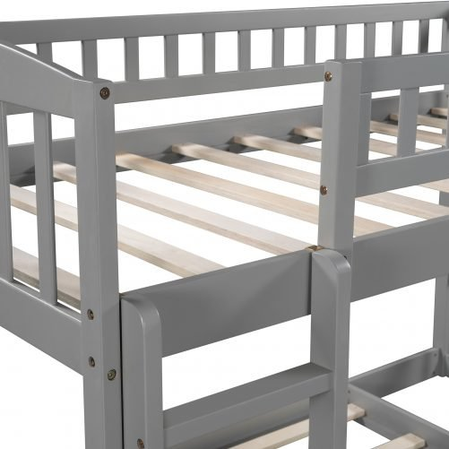 Twin Over Twin Bunk/Loft Bed With Slide And Ladder