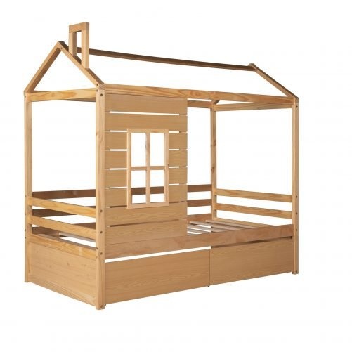 Twin Size Wood House Bed With Two Drawers