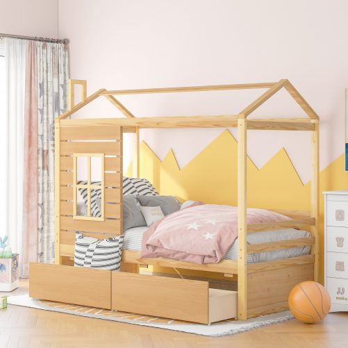 Twin Size Wood House Bed With Twin Size Trundle