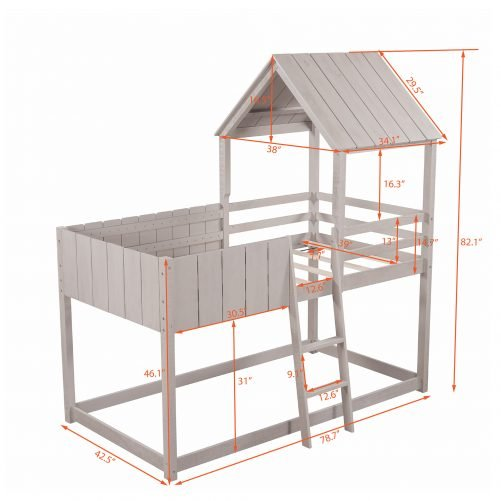 Twin Size Wood Bunk Bed With Roof, Guardrail, Ladder, House Shaped