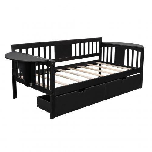 Twin Size Daybed With Two Drawers, Wood Slat Support