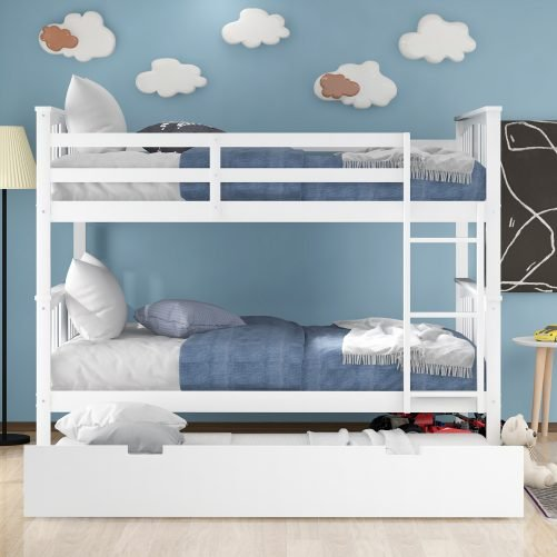 Full Over Full Bunk Bed With Trundle And Ladder