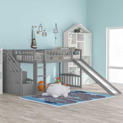 Stairway Twin Size Loft Bed with Two Drawers and Slide