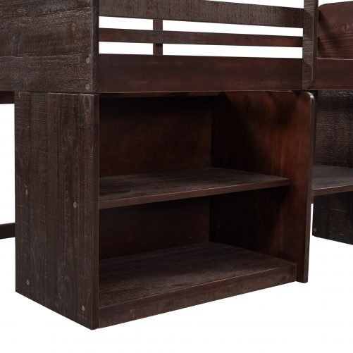 Twin Size Loft Bed with Two Shelves and Two Drawers