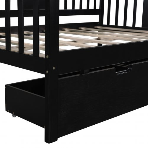 Full Size Daybed With Two Drawers, Wood Slat Support