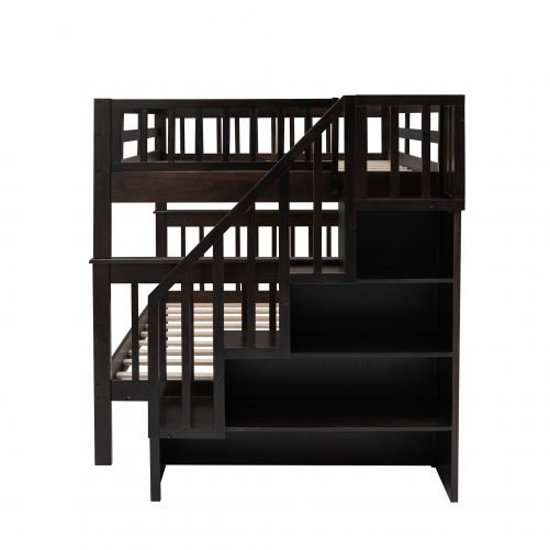Stairway Full over Full Bunk Bed With Storage And Guard Rail