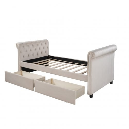 Twin Size Upholstered Daybed With Drawers