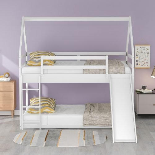 Twin Size Bunk House Bed With Slide And Ladder