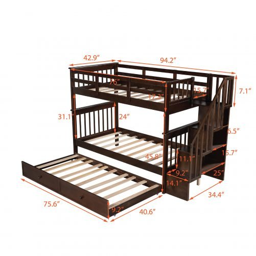 Stairway Twin-over-twin Bunk Bed With Twin Size Trundle