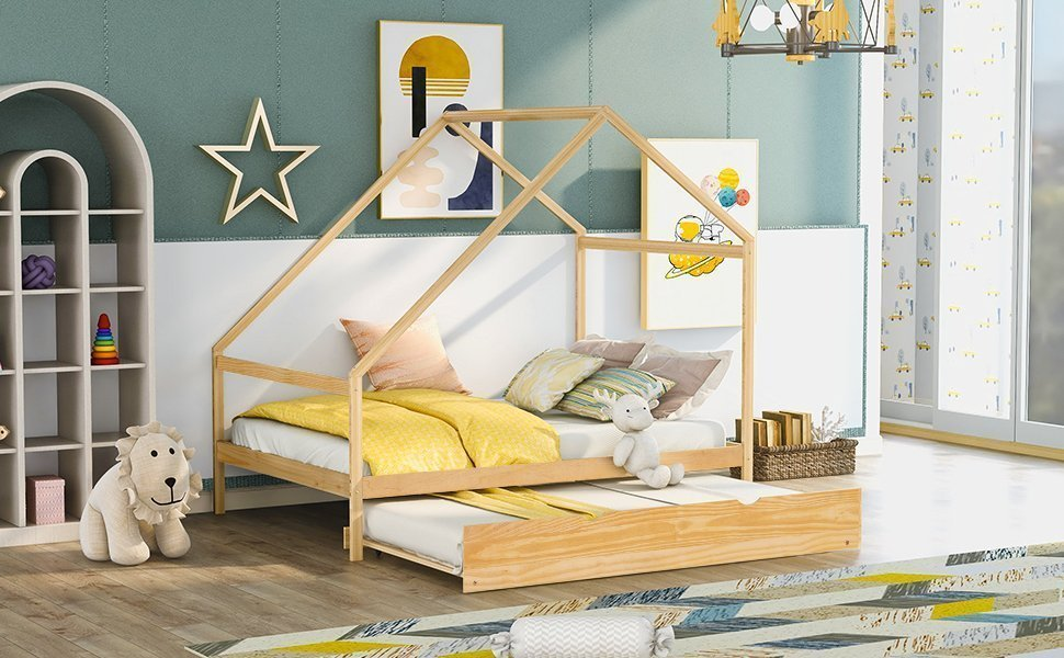 Full Size Wooden House Bed With Twin Size Trundle
