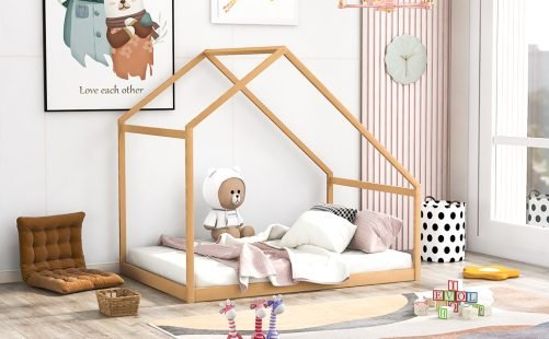 Full Size Wooden House Bed