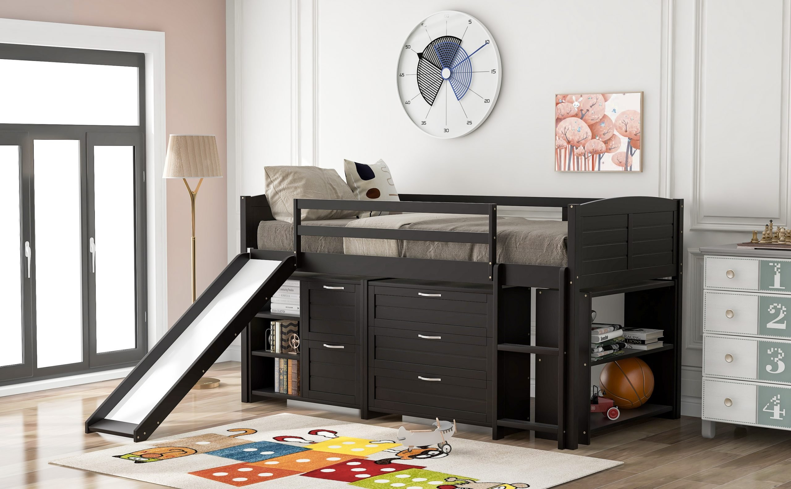 Low Twin Size Loft Bed With Cabinets, Shelves And Slide