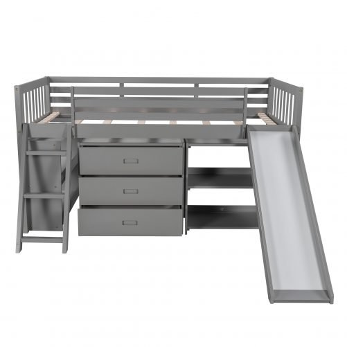 Solid Wood Low Loft Bed With Attached Bookcases ,Separate 3-tier Drawers, Convertible Ladder And Slide, Twin Size