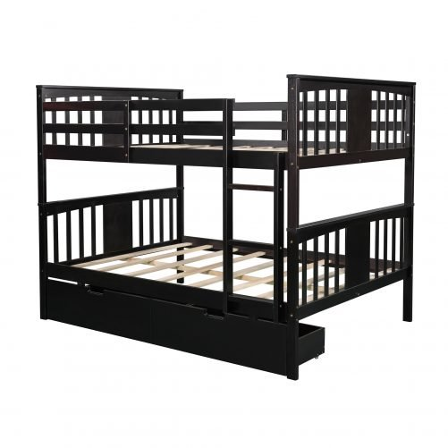 Full Over Full Bunk Bed With Drawers And Ladder