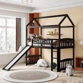 Twin House Shape Loft Bed With Slide