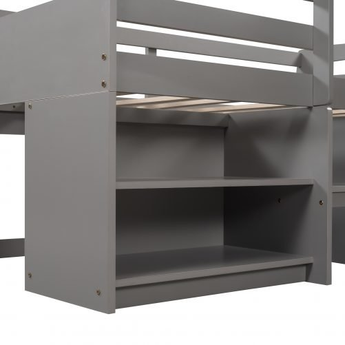 Twin Size Wood Loft Bed with Two Shelves and Two Drawers