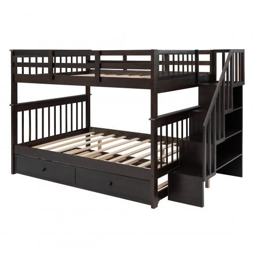 Stairway Full Over Full Bunk Bed With Twin Size Trundle, Storage And Guard Rail