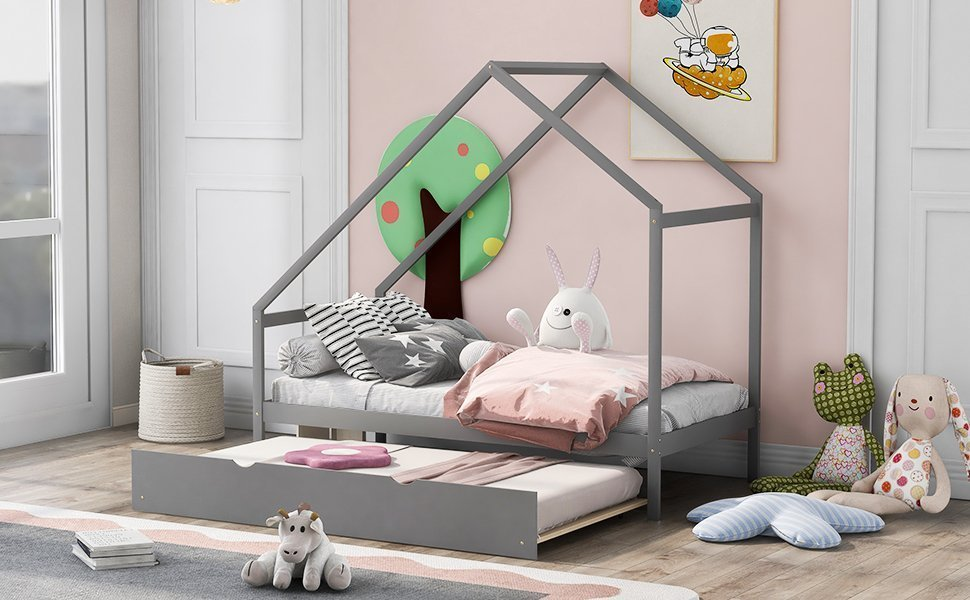Twin Size Wooden House Bed With Twin Size Trundle