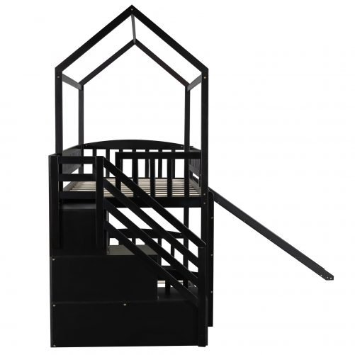 House Shape Twin Over Twin Bunk Bed With Two Drawers And Slide