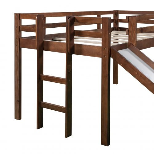 Twin Size Loft Bed Wood Bed With Slide, Stair And Chalkboard