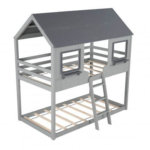 Twin Over Twin Bunk Bed With Roof, Window, Guardrail, Ladder