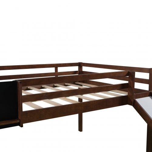 Full Size Loft Bed Wood Bed With Slide, Stair And Chalkboard