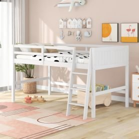 Twin Wood Low Loft Beds With Ladder