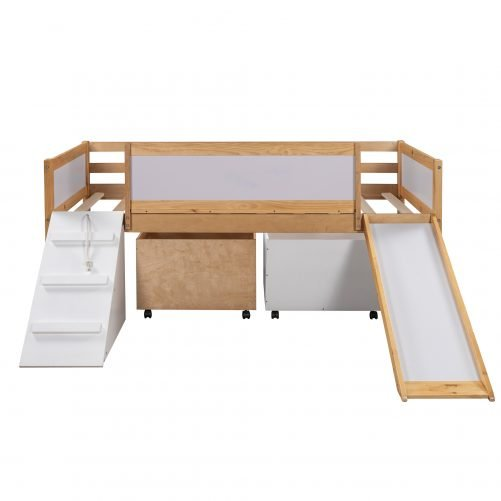 Twin Size Low Loft Bed Wooden Bed With Two Storage Boxes