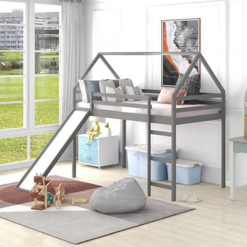 House Shape, Twin Size Loft Bed With Slide