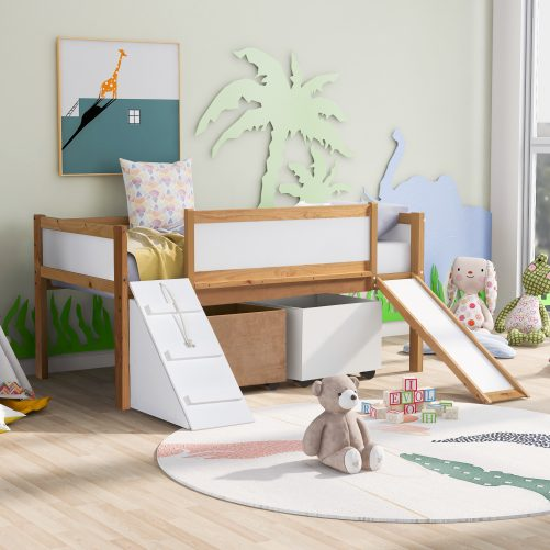 Twin Size Low Loft Bed With Two Storage Boxes, Natural Color