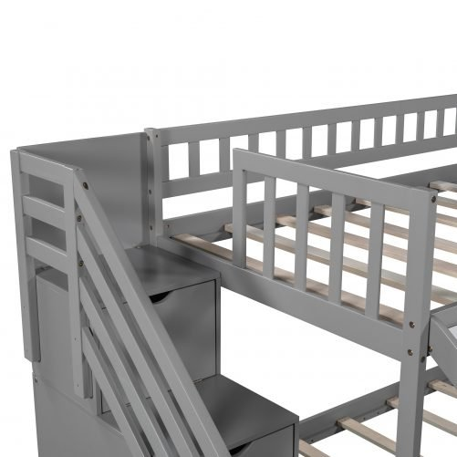 Stairway Twin Over Twin Bunk Bed With Two Drawers And Slide