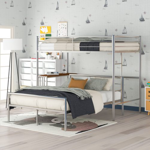 Twin Over Full Metal Bunk Bed With Desk, Ladder And Slats