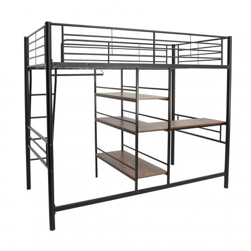 Metal Loft Bed With Desk, Shelf And Hanging Rod