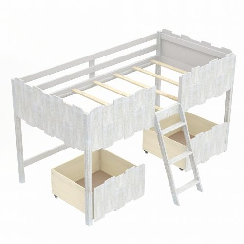 Twin Size Rustic Loft Bed With Two Drawers