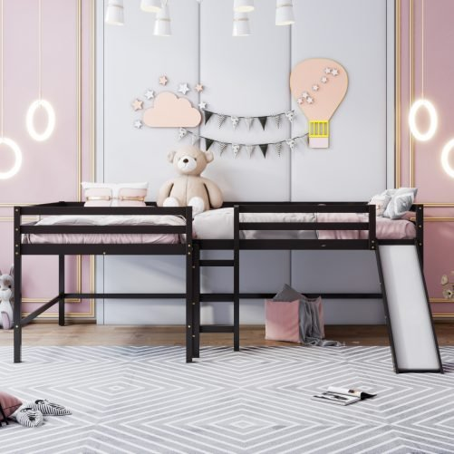 Full Size L-Shaped Loft Bed With Built-In Ladders And Slide