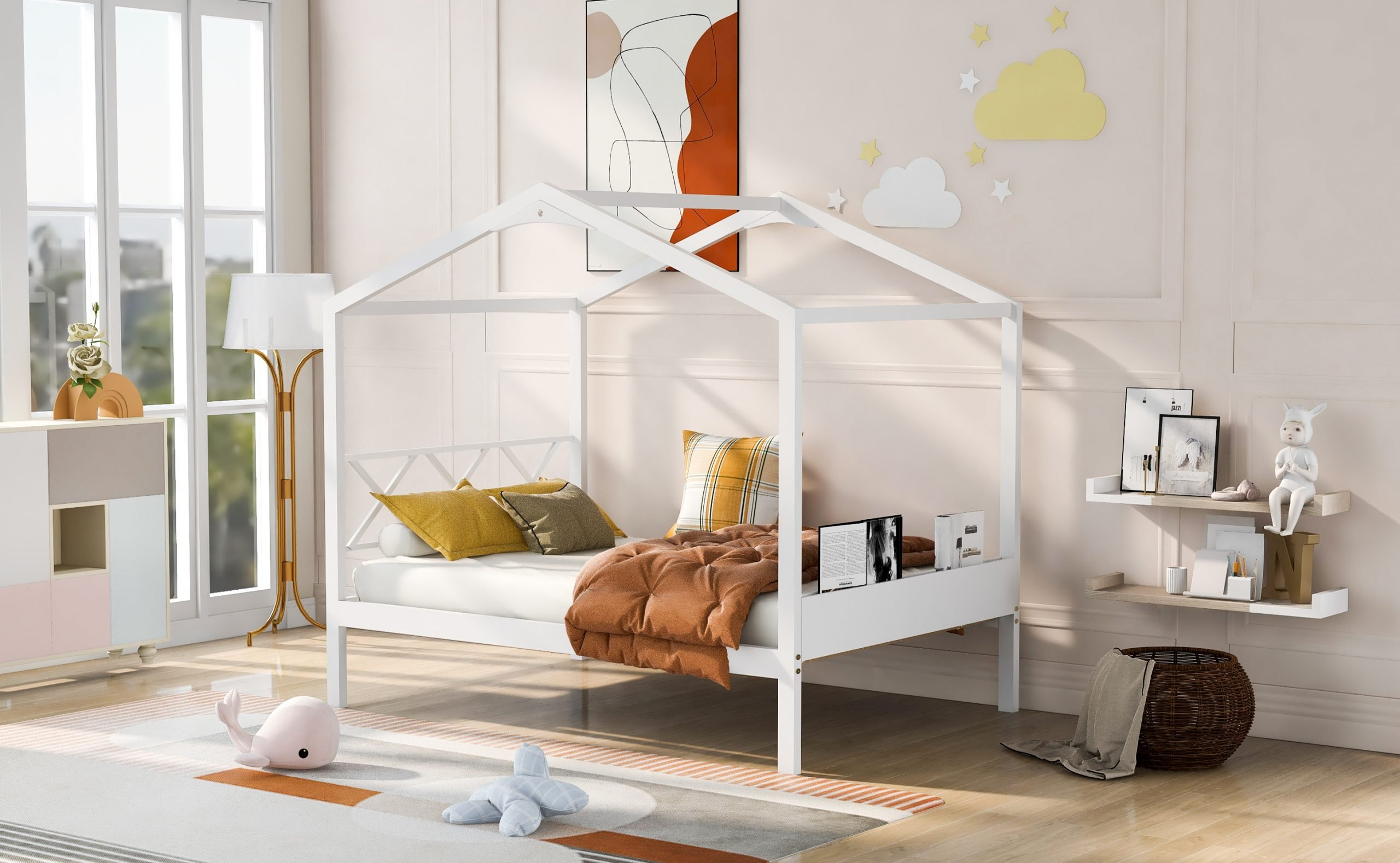 Full Size Wood House Bed With Storage Space